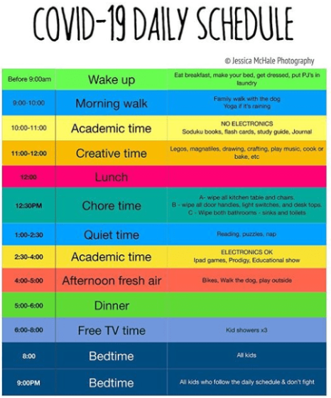 COVID-19 Daily Schedule @JessicaMcHale